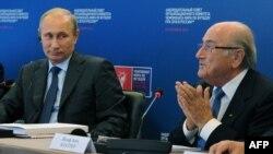 Йозеф Блаттер на встрече с Владимиром Путиным в Москве. 28 октября 2014 года