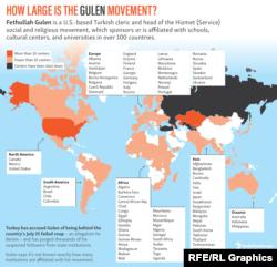 Инфографика на английском языке, с обозначением количества учреждений образования и культуры в разных странах, спонсируемых Фетхуллахом Гюленом. Оранжевым обозначены страны, где их больше 10, бледно-оранжевым - менее 10, черным - где все они были недавно закрыты
