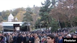 Armenia -- Residents of Kapan attend a protest against possible uranium mining, 11Nov2010.
