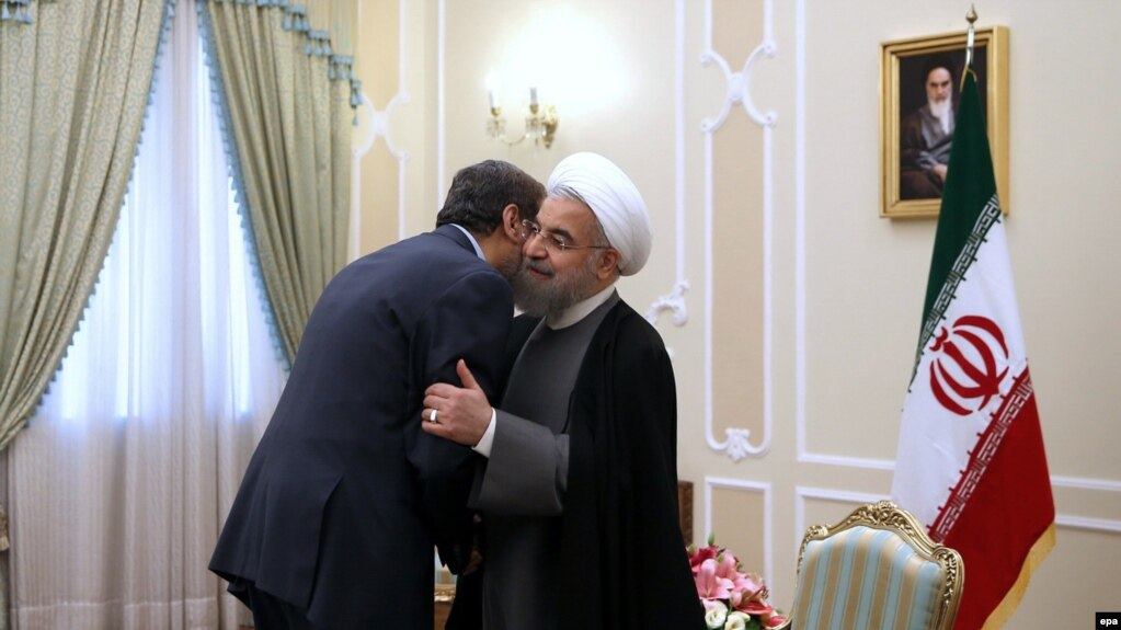 A handout picture made available by the Iranian presidential office shows Iranian president Hassan Rouhani greeting Ramadan Abdullah Shalah (L), Secretary General of the Palestinian Islamic Jihad (PIJ), in Tehran, 05 May 2016.