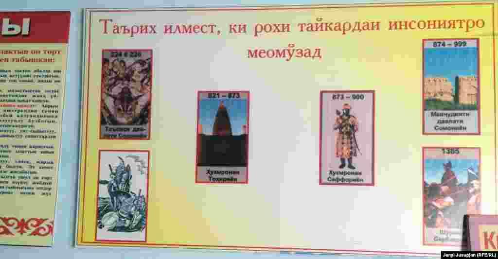 Надпись на таджикском языке в школе имени Айни o роли истории как науки. В селе Уч Коргон 10 школ. Из-за недостатка учебников, некоторые из таджикоговорящих детей выбирают образование на других языках, а учителя отмечают слабое знание таджикского носителями языка.
