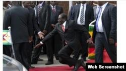 90-летний президент Зимбабве Роберт Мугабе падает на ковёр после произнесения речи перед своими сторонниками. Кадр видеозаписи. Хараре, 5 февраля 2015 года.