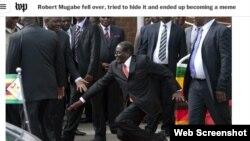 президент Зимбабве Роберт Мугабе падает на ковёр после произнесения речи перед своими сторонниками 5 февраля 2015 года.