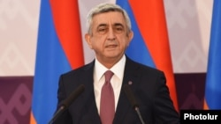 Armenia - President Serzh Sarkisian speaks at an international media forum in Yerevan, 18Mar2015.