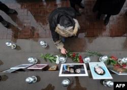 Траурная церемония на месте теракта. 26 октября 2012 года