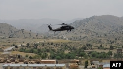 A U.S. Blackhawk helicopter prepares to land at an army outpost in Khost Province (file photo)