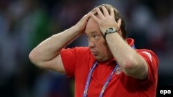 Russian national soccer team coach Leonid Slutsky reacts during the UEFA EURO 2016 group match between Russia and Slovakia at Stade Pierre Mauroy in Lille, France, on June 15.