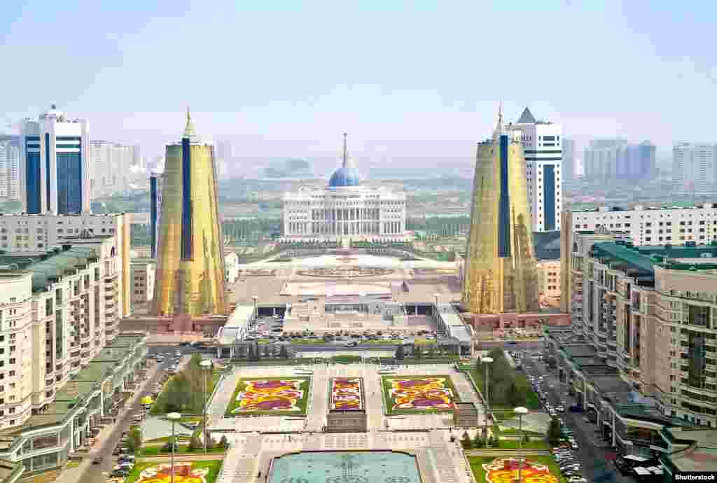 An overview of today's Astana with Kazakhstan's White House-like presidential palace in the center.