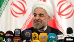 Hassan Rohani speaks at his first press conference since the Iranian vote on June 14.