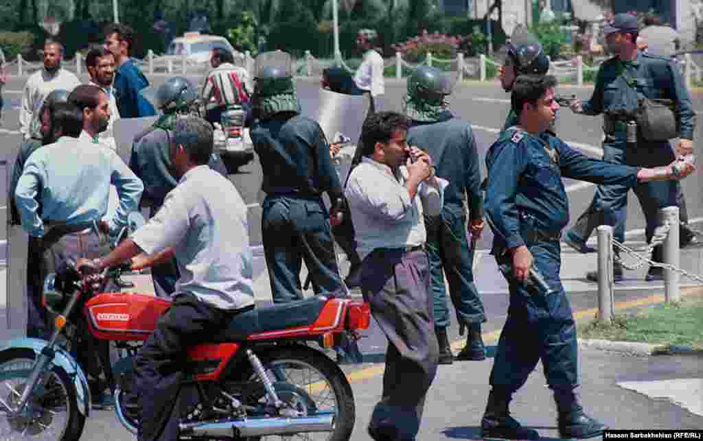 Iran -- Hassan Sarbakhsian's Photos of Iranian Student Protests of July 1999, also known as 18th of Tir. In one the most widespread and violent public protests to occur in Iran since Iranian Revolution, at least 4 people have been killed and 200 injured.