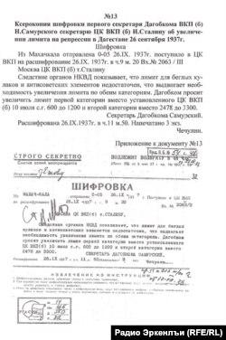 The secret document from Najmudin Samursky (a head of Dagestan in 1930's) to Stalin, illustration
