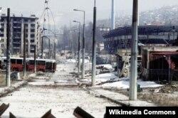 Sarajevo nakon granatiranja, arhivska fotografija