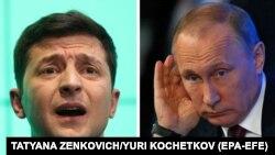 Президент України Володимир Зеленський (л) і російський лідер Володимир Путін, комбіноване фото
