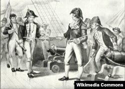"""Офицеры фрегата """"Чизапик"""" вручают свои шпаги капитану """"Леопарда"""". Рисунок Дэниэля Шеппа. 1900"""
