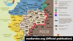 Ситуація в зоні бойових дій на Донбасі, 22 червня 2019 року. Інфографіка Міністерства оборони України