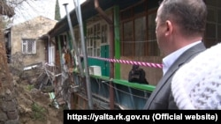 Ликвидация последствий обрушения подпорной стены в переулке Ломоносова, Ялта