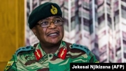 Army General Constantino Chiwenga Commander of the Zimbabwe Defense Forces addresses a media conference held at the Zimbabwean Army Headquarters in Harare, November 13, 2017