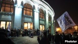 Armenia - Spectators leave the National Opera Theater in Yerevan following the announcement of a strike by its singers and musicians, 10Feb2014.