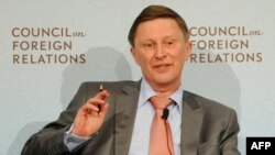 Russian Deputy Prime Minister Sergei Ivanov speaks at the Council on Foreign Relations in New York on April 4.