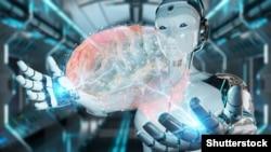Хуманоиден робот, който държи 3D обект