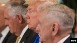 (L-R) US Secretary of State Rex Tillerson, US President Donald Trump and US Defense Minister James Mattis attend a meeting with EU leaders, at the European Council, in Brussels, May 25, 2017