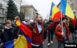 Акція протесту проти обрання Ігоря Додона президентом Молдови. Кишинів, 14 листопада 2016 року