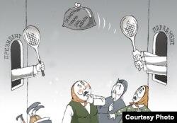 """""""Зейнетақы туралы заң жобасы"""". Карикатураның авторы - Ғалым Смағұл."""