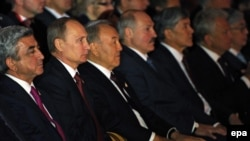 Kazakhstan -- The presidents of Kazakhstan, Russia, Belarus, Armenia and Kyrgyzstan attend a concert at the Astana Opera House, May 29, 2014