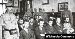 Sui-qəsdçilərin məhkəməsi (Gavrilo Princip ortada)