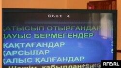 Монитор с результатами голосования в зале заседания мажилиса парламента. Астана, 31 марта 2010 года.