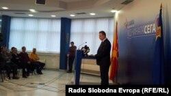 Лидерот на СДСМ Бранко Црвенковски на прес конференција во седиштето на партијата.