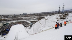 Комплекс лыжных трамплинов в Алматы, построенных для проведения Азиады.