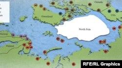 Карта российских арктических баз