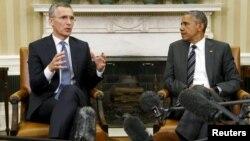 ԱՄՆ նախագահ Բարաք Օբամայի և ՆԱՏՕ-ի գլխավոր քարտուղար Յենս Ստոլտենբերգի հանդիպումը Սպիտակ տանը, Վաշինգտոն, 26-ը մայիսի, 2015թ․