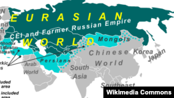 Spațiul eurasian potrivit unei hărți Wikipedia