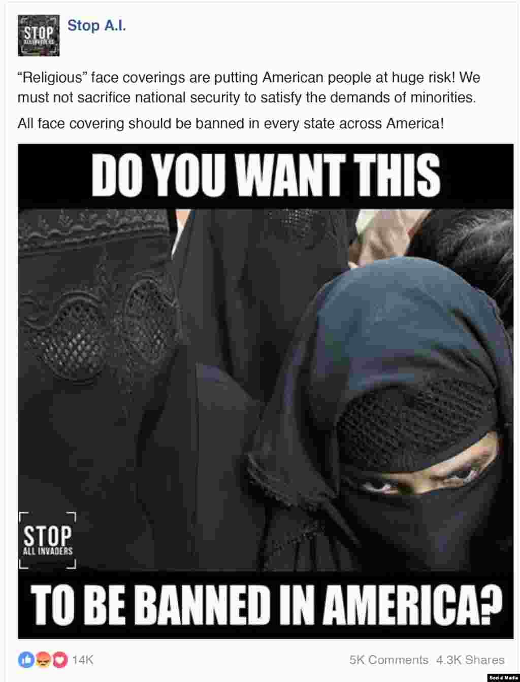 «Мы не будем жертвовать безопасностью ради того, чтобы ублажать требования меньшинств», – гласит этот пост. В нем тоже предлагается принять участие в кампании против бурки.