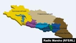 Harta a Caucazului de nord