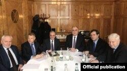 Switzerland -- Foreign Ministers Zohrab Mnatsakanian of Armenia and Elmar Mammadyarov of Azerbaijan and international mediators meet in Geneva, January 30, 2020.