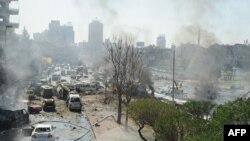Последствия взрыва в центре Дамаска, 21 февраля 2013 года.