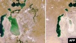 Арал теңізінің 2006 жылы (сол жақта) және 2009 жылы (оң жақта) түсірілген суреті. 10 шілде 2009 жыл.