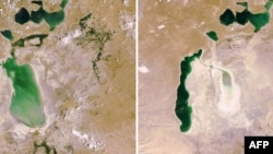 Satellite images show the dramatic retreat of the Aral Sea's shoreline from 2006 (left) to 2009.