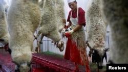 Măcelărie musulmană halal în Mongolia, 13 aug., 2018.