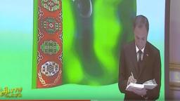 Wise-premýer Esenmyrat Orazgeldiýew prezident Gurbanguly Berdimuhamedowa hasabat berýär. 16-njy awgust, 2019.