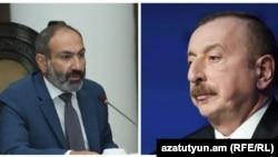 Премьер-министр Армении Никол Пашинян (слева) и президент Азербайджана Ильхам Алиев