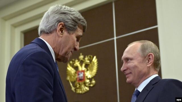 U.S. Secretary of State John Kerry meets with Putin in Sochi.