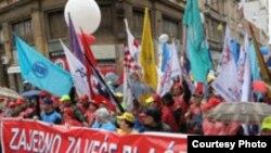 Sindikalni prosvjed 'Zajedno za veće plaće' u Zagrebu održan 12.04.2008. Photo: www.24sata.hr