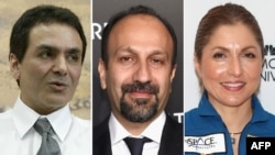 Dr. Firouz Naderi, (left), Iranian director Asghar Farhadi (center), and businesswoman and self-funded space traveler Anousheh Ansari