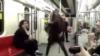 رقص دختر جوان در متروی تهران