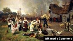 Николай Дмитриев-Оренбургский. Пожар в деревне. 1885
