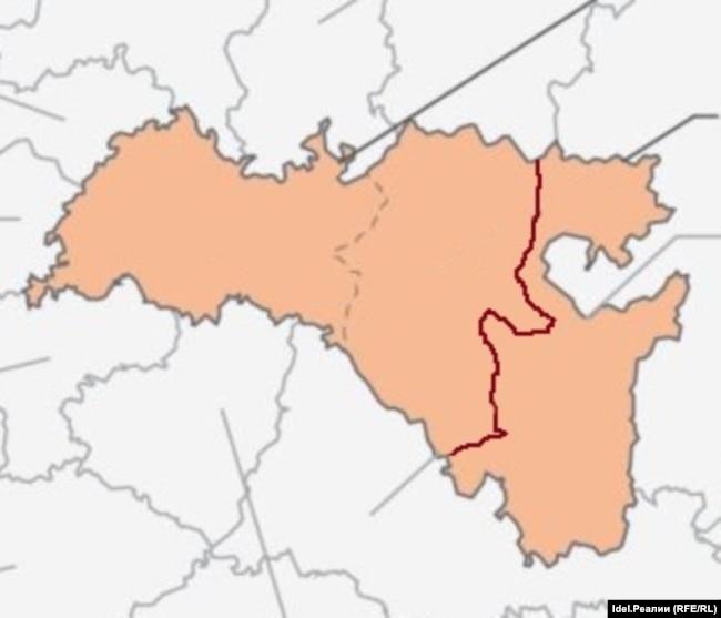 Примерная граница между двумя республиками, если бы Белебеевский, Бирский и Уфимский уезды были включены в Татарстан